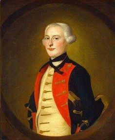 1756 Painting on left- by Joseph Blackburn was an English portrait painter who worked mainly in Bermuda and colonial America.  Dark navy coat with red facings, gold laced button holes and hat, and buttons and gold waistcoat.   White shirt, black neck cloth.  https://en.wikipedia.org/…/List_of_works_by_Joseph_Blackburn Subject: unidentified officer in Massachusetts militia coat (once thought to be General Joshua Winslow).[3] IAP 08600023