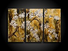 Abstract Painting Modern Painting Wall Art Asian Blossoms Tree Painting Contemporary Painting Encaustic Painting 24 x 36 Triptych Zen    Size: 24h x