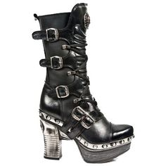 New Rock Boots - Z006 - Black Leather Stack Heel Rivet Sole Boot