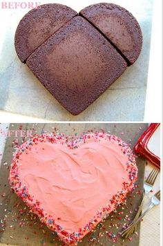 Heart shaped cake, could be valentine's day or mothers day!