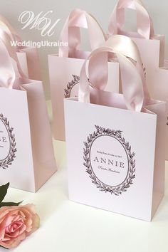 bag for girls Elegant Baby Pink Bridal Party Gift Bags Groomsmen Gift Bags, Bridesmaid Gift Bags, Groomsman Gifts, Party Gift Bags, Party Gifts, Paper Bag Design, Wedding Welcome Bags, Wedding Bag, Personalized Gift Bags