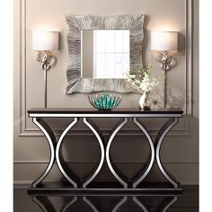 Beautiful modern console table design with contemporary shapes in black and white Sofa Table Design, Sofa Table Decor, Accent Table Decor, Sofa Tables, Accent Tables, Decoration Hall, Entryway Decor, Table Decorations, Dining Room Console