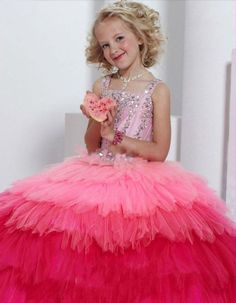 MZ0048 Cap Sleeves Ball Gown Tulle Beaded and Sequined Layers Flower Girl Dresses 2014 Newest $126.93