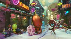 downtown raid 3-D scene with candy and cookie people