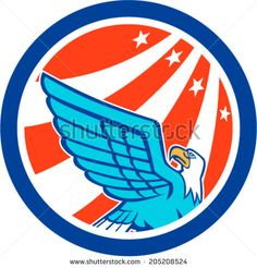 Illustration of a bald eagle flying looking up with American USA stars stripes in the background set inside circle done in retro style. - stock vector #eagle #retro #illustration
