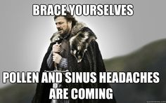 BRACE YOURSELVES Pollen and sinus headaches are coming - Ned Stark ...