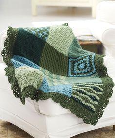 Tæppe i forskellige hæklede mønstre