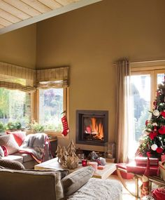 A Nordic style home decorated for Christmas in Spain