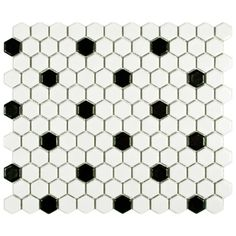 Somertile Victorian Hex Matte White With Black Dot Porcelain Mosaic Tiles (Pack of 10) | Overstock.com Shopping - Big Discounts on Somertile Wall Tiles