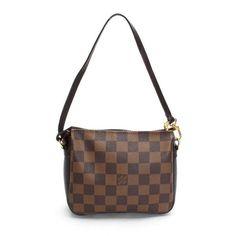 Louis Vuitton Trousse Makeup  Damier Ebene Handle bags Brown Canvas N51982