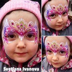"307 Likes, 5 Comments - Everything Face And Body Art (@sillyfarm) on Instagram: ""Perfect brush strokes... beautiful design by Svetlana Ivanova @lana_faceart #sillyfarm #facepainter…"""