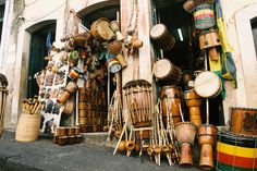 Capoeira Instruments displayed in Brazil during Carnivale. Photography from www.soulspoon.com