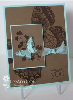So many unique things about this card-heat embossing both the large and small part, offset placement of the bottom layer, lots of layers, contrast in size of the butterflies.  Thank you for sharing LeeAnn Greff.