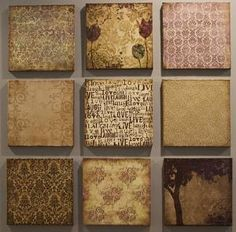 Create your own canvas wall art using scrapbook paper and mod podge. by leanne