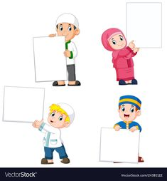 Collection of moslem people holding big blank sign vector Blank Banner, Blank Sign, Cartoon Girl Images, Cartoon Kids, Islamic Cartoon, Islam For Kids, Anime Muslim, Banner Vector, Vector Free