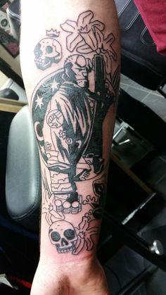 Post with 31 votes and 2130 views. Star Wars Tattoo, Star Tattoos, Body Art Tattoos, Tattoo Drawings, Cool Tattoos, Amazing Tattoos, Hellboy Tattoo, Batman Tattoo, Video Game Tattoos