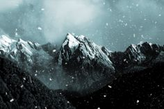 Photoshop, Dust Particle Brushes (http://wegraphics.net/downloads/free-dust-particle-photoshop-brush-set/), Snowy Mountain Peak (https://www.flickr.com/photos/izle/5861190686/)
