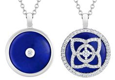 De Beers Enchanted Lotus pendent - The exquisite deep blue of the Lapis Lazuli inlay is symbolic of truthfulness, friendship and purity #diamondmastery...x