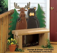 Northern Pals Bench Wood Plans What an adorable pair! Great for any porch or patio setting. Christmas Wood, Christmas Crafts, Christmas Decorations, Holiday Decor, Christmas Signs, Wooden Projects, Wood Crafts, Vinyl Projects, Black Bear Decor