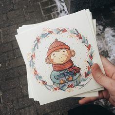Monkey #christmas #card