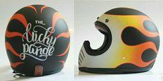 Airbrush Designs, Vintage Helmet, Custom Motorcycle Helmets, Helmet Design, Moto Bike, Pinstriping, Bike Parts, Shell Art, Bike Life