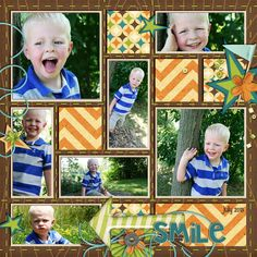 """Cute Elijah """"Smile"""" Scrapping Layout...filandstef - ScrapMatters Gallery. Template-Project 52 Templates-Volume 3 - Meagan's Creations - http://shop.scrapmatters.com/product.php?productid=15152&cat=0&page=1"""