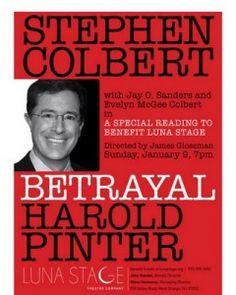 Stephen Colbert in Harold Pinter Drama at Luna Stage, 1/9