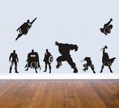 SUPERHERO WALL DECALS - Set of 8 - Avengers - Hulk - Captain America - Wolverine - Thor- Superman - Batman - Ironman -Spiderman. $36.00, via Etsy.