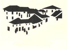 Robert Gibbings, Street in Macedonia, wood engraving 1921