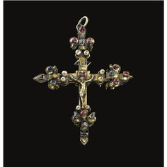FRENCH, SECOND HALF 14TH CENTURY PECTORAL CROSS silver, enamelled and engraved on reverse with the lamb of God and the symbols of the four Evangelists, partially gilt and  and mounted with cabochon stones, applied seed pearls