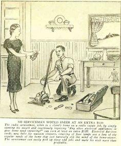 1936:  Radio serviceman fixing other appliances.