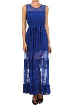 Blue Lace Striped Hem Maxi Dress