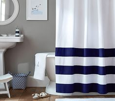 Striped Bottom Shower Curtain, Navy ~ Love the shower curtain and personalized towel