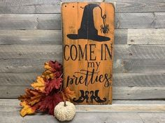 Imagine the crackling voice of a witch as your front door opens on Halloween, Come in my pretties! Our Halloween Decor is the perfect accent to all of your Halloween decorations. #halloweensign #woodwitchsign #halloweenfarmhouse #falldecor Rustic Halloween, Halloween Signs, Fall Halloween, Halloween Decorations, Halloween Stuff, Halloween Ideas, Halloween Bunco, Holiday Decorations, Halloween Crafts
