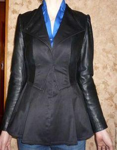 Преображение старой кожаной куртки в куртку с баской - Ярмарка Мастеров - ручная работа, handmade