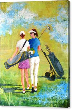 Golf Canvas Print featuring the painting Golf buddies #1 by Betty M M Wong