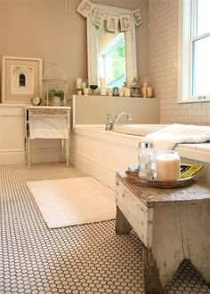 master bathroom.  swoon.  subway tile and hex tile and beadboard, ohmy!