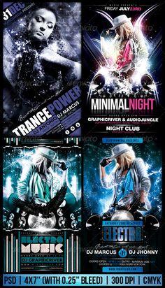 Electro / Trance Party Flyer Bundle