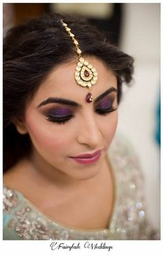 Bridal Makeup Vendors - Purple Glitter Eye Makeup with Twisted Hairstyle for Engagement or Sangeet | Makeup by @rehat | WedMeGood #bridal #sangeet #makeup