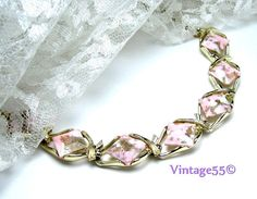 Vintage Necklace Collar Pink Gold marbled by Vintage55 on Etsy, $16.00
