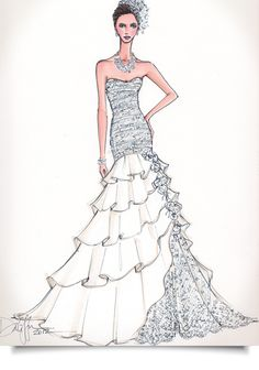 Illustrative Moments is the ultimate wedding keepsake of custom wedding gown illustrations. Noted as the fashionable go to first anniversary gift of paper. Fashion Design Sketchbook, Fashion Design Drawings, Fashion Sketches, Fashion Drawing Dresses, Fashion Illustration Dresses, Fashion Dresses, Fashion Illustrations, Moda Fashion, Fashion Art