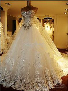 Italian Wedding Dress Designer   Designer Dazzling Beadings Swetheart Tulle Lace…