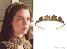 In season finale Mary wears this Gillian Steinhardt Prima Headband ($500). Available by special order at Gillian Steinhardt Jewelry. Worn with an Alexander McQueen gown.