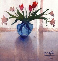 Michael Bennett Michael Bennett, Glass Vase, Leaves, Watercolor, Flowers, Beauty, Decor, Pen And Wash, Watercolor Painting