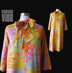 Vintage 60s Dress  VIVA VASARELY 60s Mod Op by GarishVibeVintage