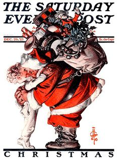 A gallery of Santa covers just for you by two of our most skilled illustrators — J. Leyendecker and Norman Rockwell. Norman Rockwell Christmas, Norman Rockwell Art, Norman Rockwell Paintings, Christmas Scenes, Christmas Art, Xmas, Christmas Stuff, Mary Christmas, Christmas Decoupage