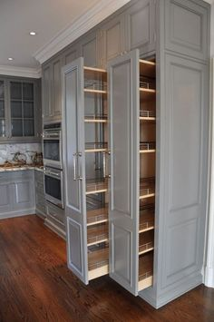 Cute Home Decor kitchen pullout cabinets.Cute Home Decor kitchen pullout cabinets Kitchen Pantry Design, Kitchen Redo, Home Decor Kitchen, Interior Design Kitchen, Kitchen With Pantry, Kitchen Organization, Kitchen Pantries, New Kitchen Cabinets, 10x10 Kitchen