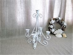 Pretty Painted Metal Candelabra / White 5-Arm by dewdropdaisies
