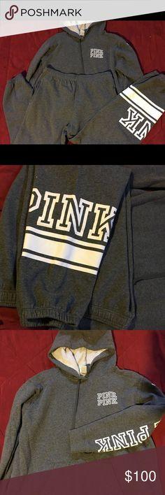VICTORIA SECRET PINK GRAY LARGE JOGGING SUIT 2 Piece set hoodie and jogging pants PINK Victoria's Secret Pants Track Pants & Joggers