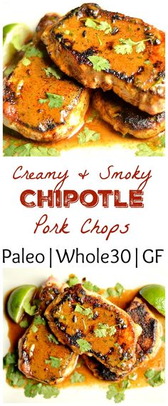 The pork chops have the most delicious creamy chipotle sauce that is dairy-free and packed with flavor!! Paleo & Whole 30 http://www.skinnymefat.com